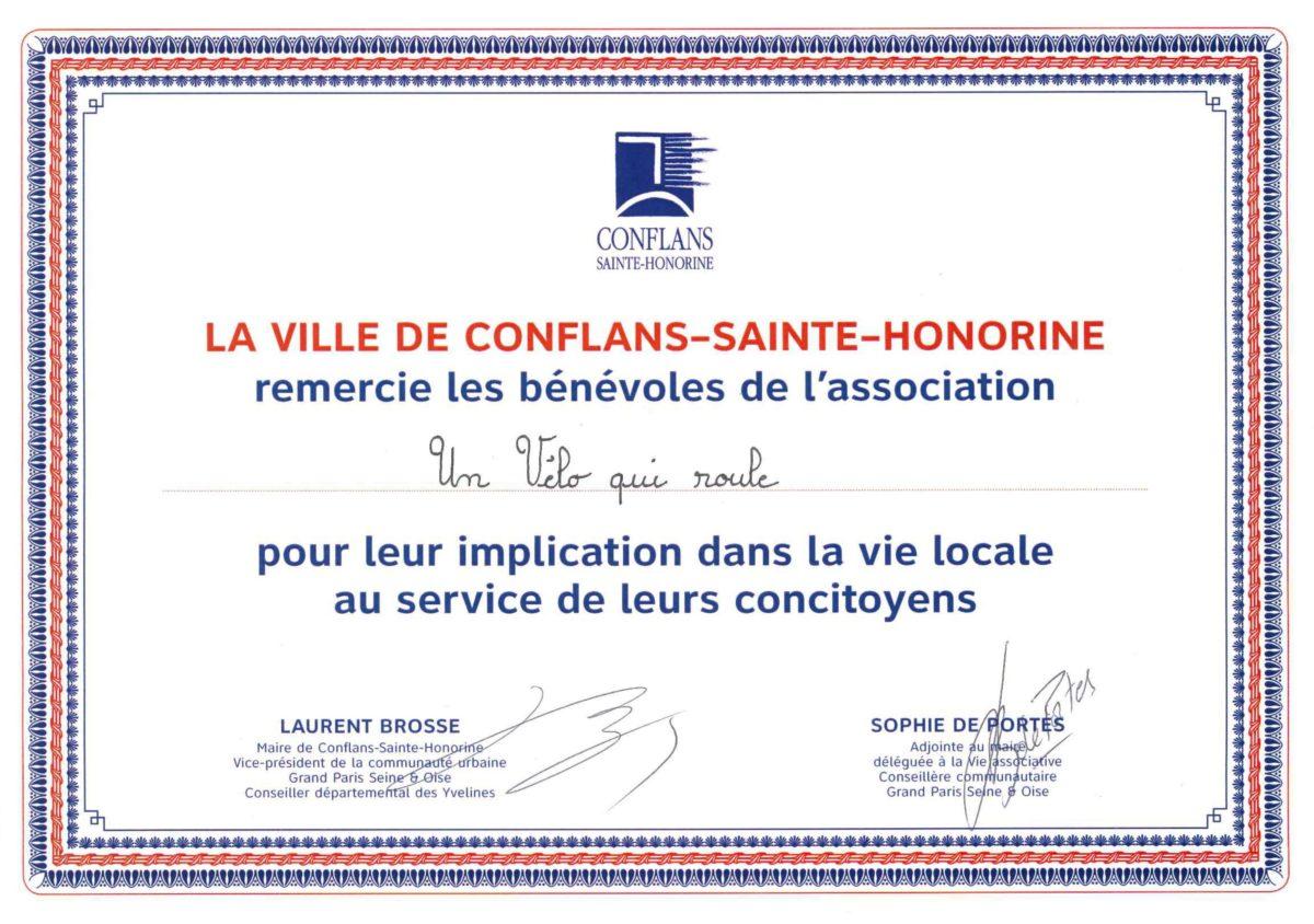 UVQR récompensé à la soirée des bénévoles de Conflans
